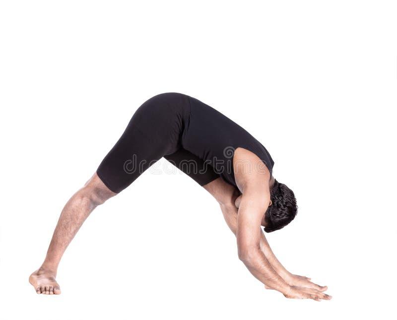 Pose de recourbement en avant de yoga images libres de droits