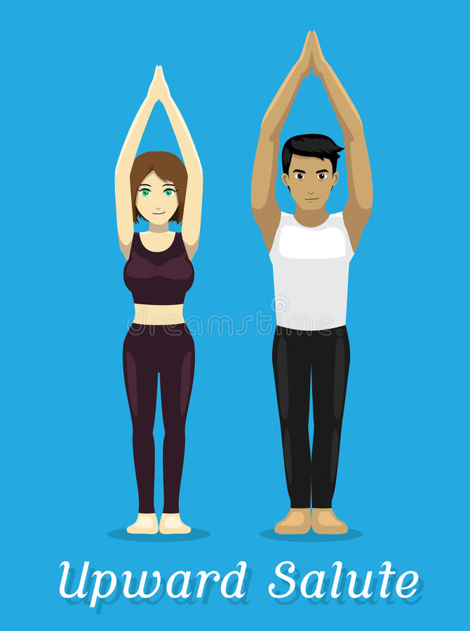 Pose de salut de Manga Style Cartoon Yoga Upward illustration libre de droits