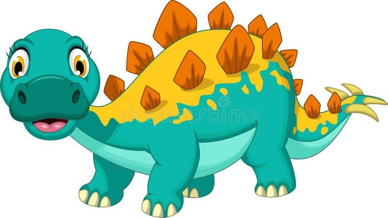 Pose de sourire de bande dessinée de stegosaurus illustration libre de droits