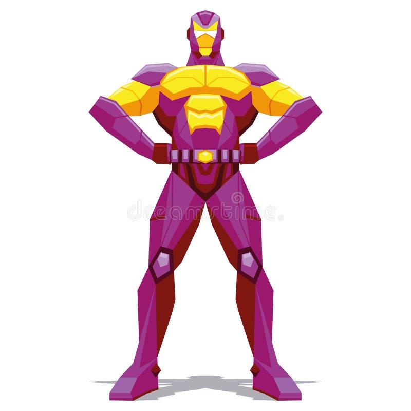 Pose de super héros d'isolement sur le fond blanc illustration stock