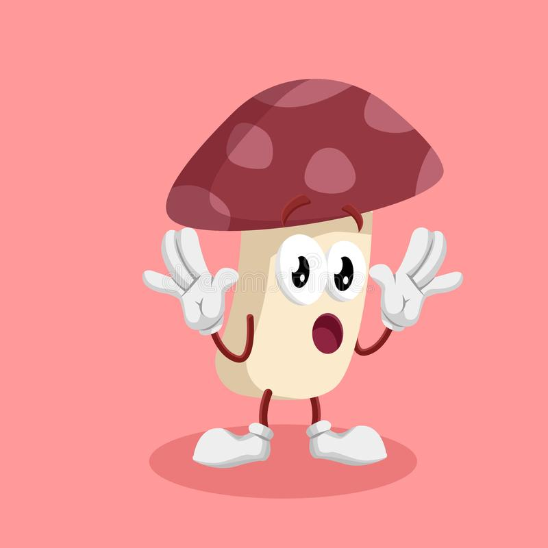 Pose de surprise de mascotte et de fond de champignon illustration stock