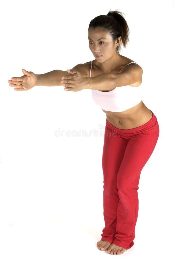 Download Pose de yoga photo stock. Image du pantalon, stretch, révision - 89986