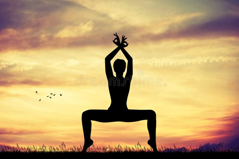 Pose de yoga au coucher du soleil illustration de vecteur