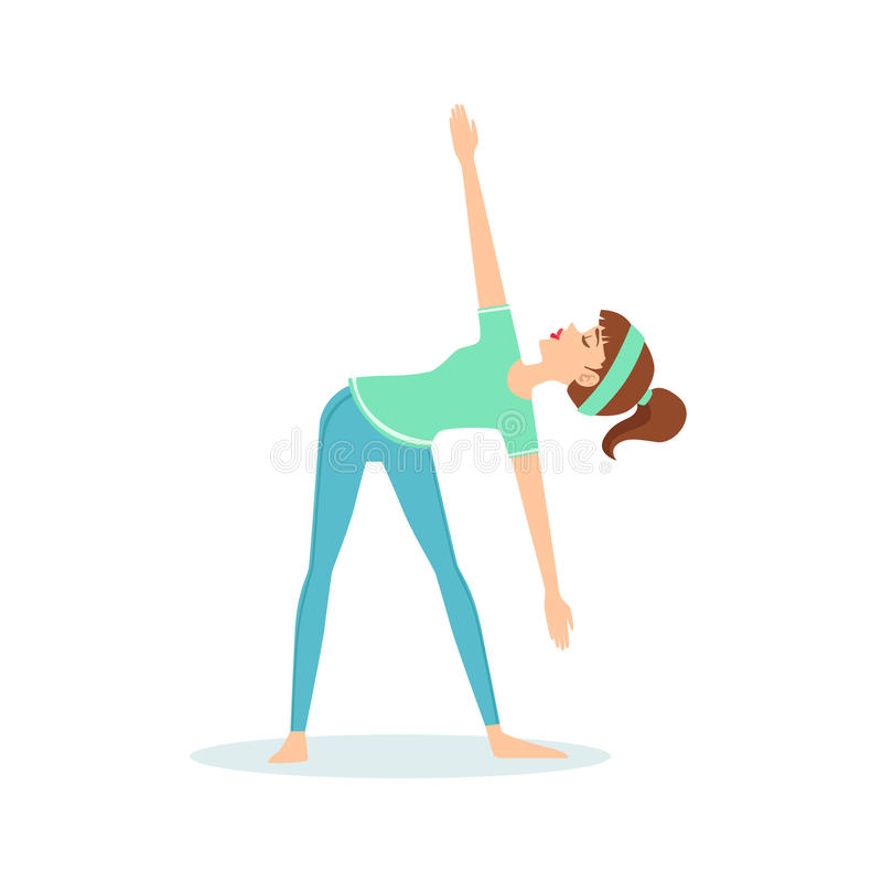 pose de yoga de trikonasana de triangle d montr e par le yogi de bande dessin e de fille avec la. Black Bedroom Furniture Sets. Home Design Ideas