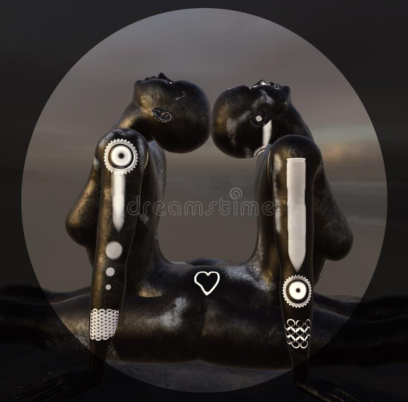 Pose de yoga, femmes dans l'amour, amants, sculpture 3D surréaliste illustration libre de droits
