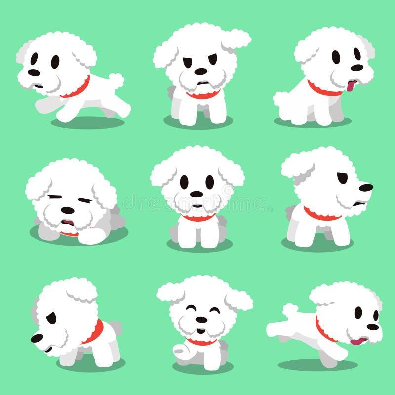 Pose del cane del frise del bichon del personaggio dei cartoni animati illustrazione vettoriale
