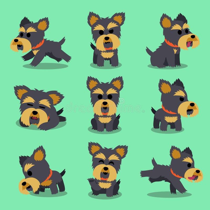 Pose del cane dell'Yorkshire terrier del personaggio dei cartoni animati royalty illustrazione gratis