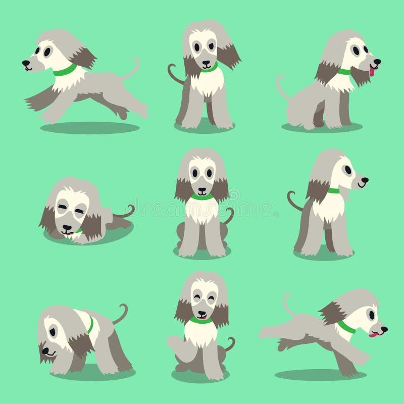 Pose del cane di levriero afgano del personaggio dei cartoni animati fissate royalty illustrazione gratis