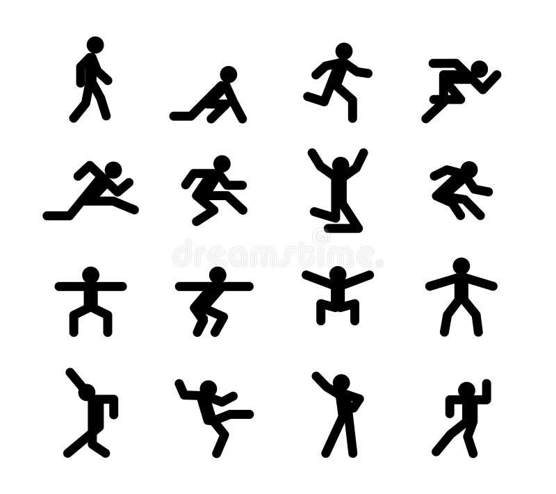 Pose di azione umana Eseguire camminata, saltare e illustrazione vettoriale
