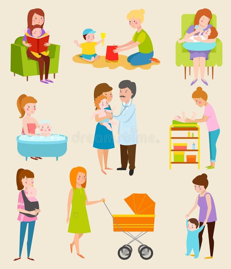 Pose diferente dos caráteres novos do vetor da mãe, ainda vida familiar da mulher ilustração do vetor
