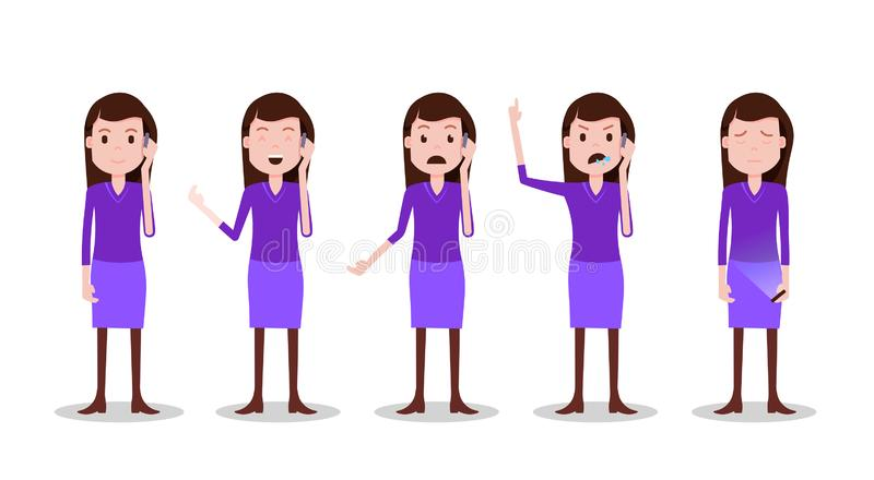 Pose differenti del carattere teenager stabilito della ragazza e modello femminile di telefonata di emozioni per la progettazione illustrazione vettoriale