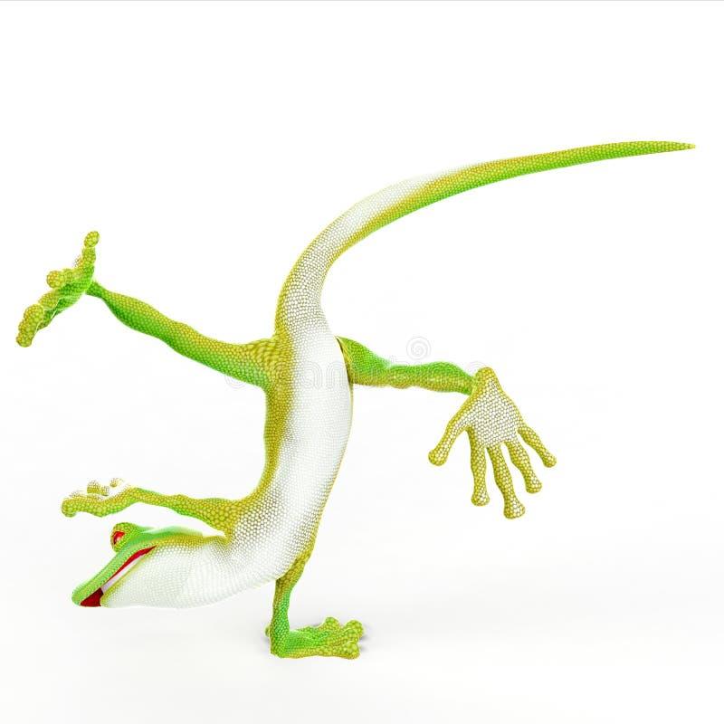 Pose do capoeira do estilo livre dos desenhos animados do Gecko ilustração stock