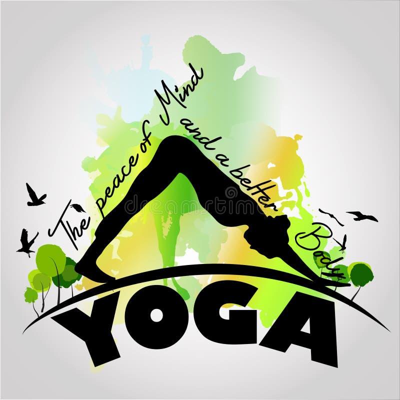 Pose do equilíbrio da ioga com fundo da aquarela imagem de stock royalty free