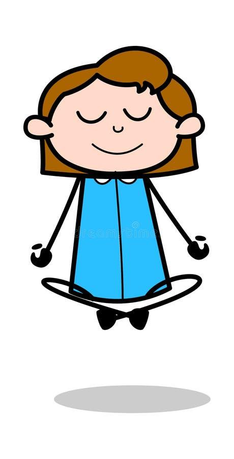 Pose do exercício da ioga - ilustração retro do vetor dos desenhos animados do empregado da menina de escritório ilustração royalty free