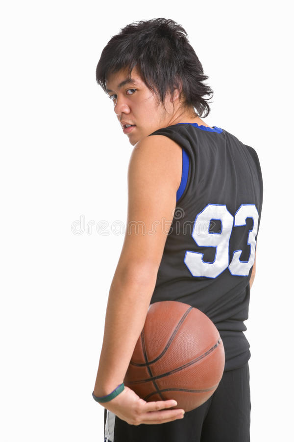 Pose do jogador de basquetebol da parte traseira imagem de stock royalty free