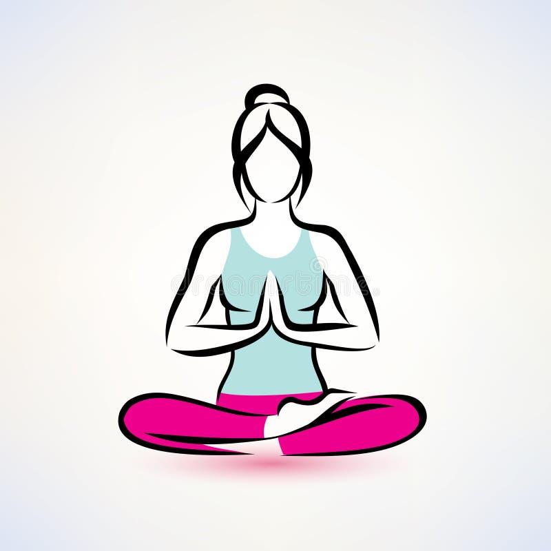 Pose dos lotos da ioga, conceito do bem-estar das mulheres ilustração do vetor