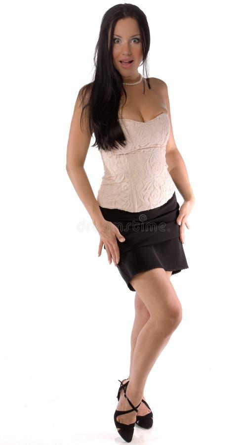 Pose du joli brunette image libre de droits