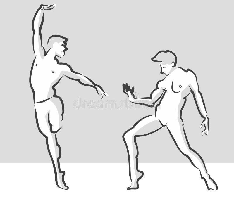 Pose expressive de Gesuture de ballet, croquis russe de théâtre illustration de vecteur