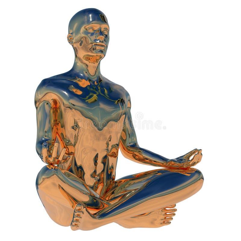 Pose ext?rieure de yoga de lotus de caract?re mental humain de gourou d'or illustration stock