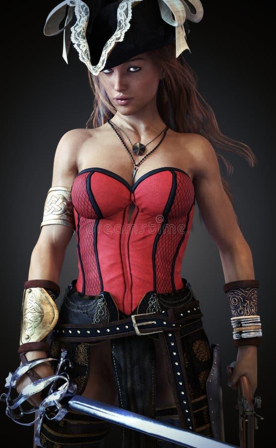 Pose femelle de pirate sexy avec une épée et un pistolet de sabre d'abordage sur un fond de gradient illustration libre de droits