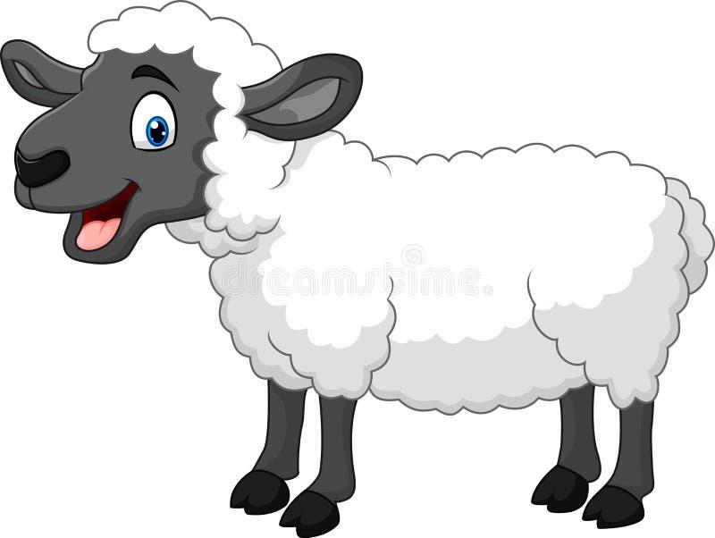 Pose heureuse de moutons de bande dessinée d'isolement sur le fond blanc illustration de vecteur