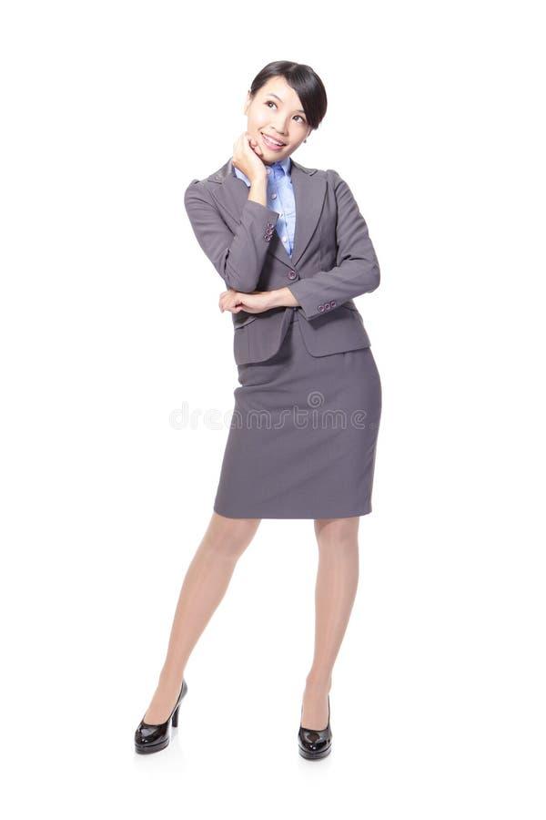 Pose heureuse réfléchie de femme d'affaires images libres de droits