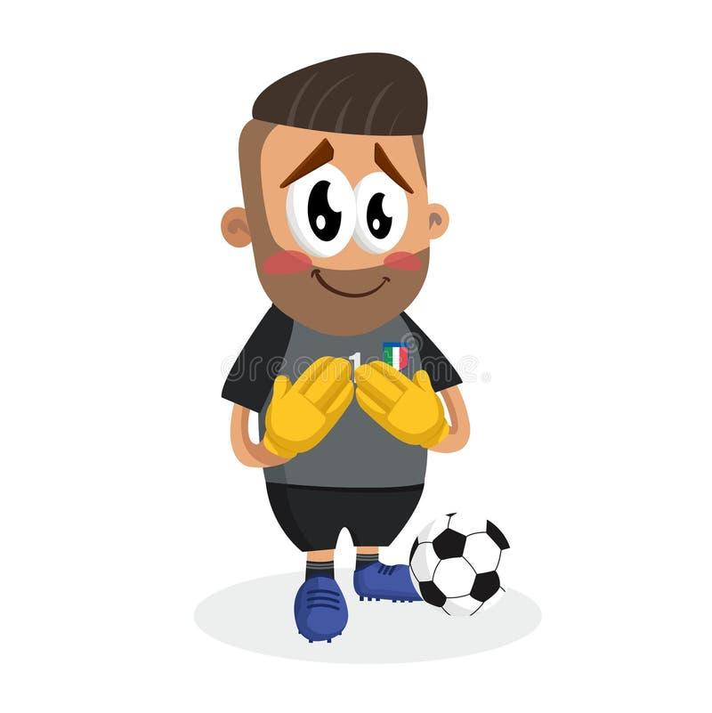 Pose honteuse nationale de mascotte et de fond du football de TItaly illustration de vecteur