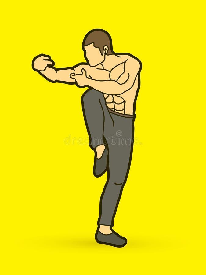 Pose ivre de kung-fu illustration stock