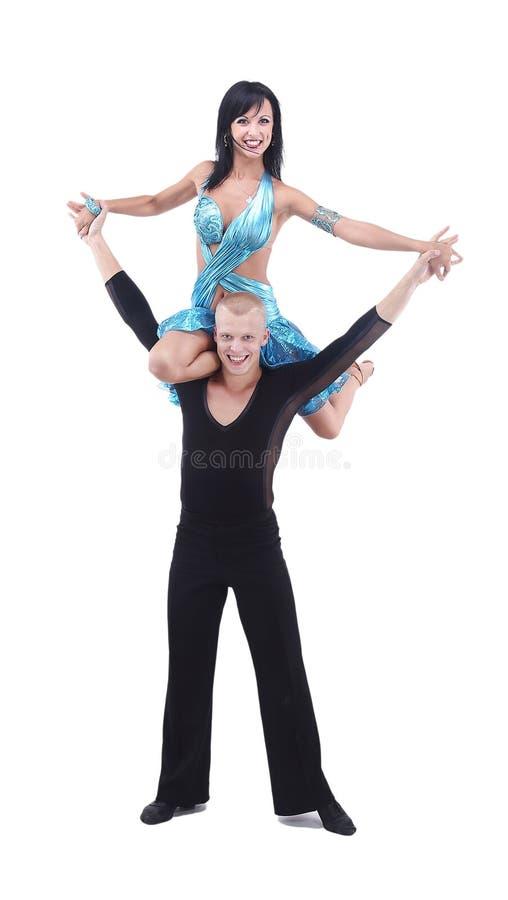 Pose latine de danseurs D'isolement sur le fond blanc photo stock