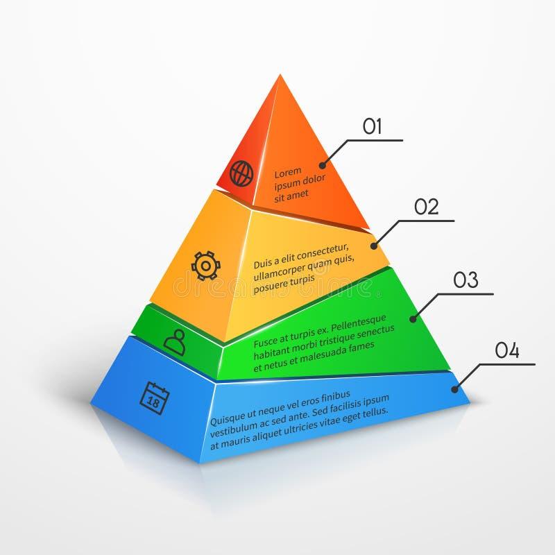 Pose le calibre infographic de présentation de vecteur de diagramme de pyramide de hiérarchie illustration de vecteur