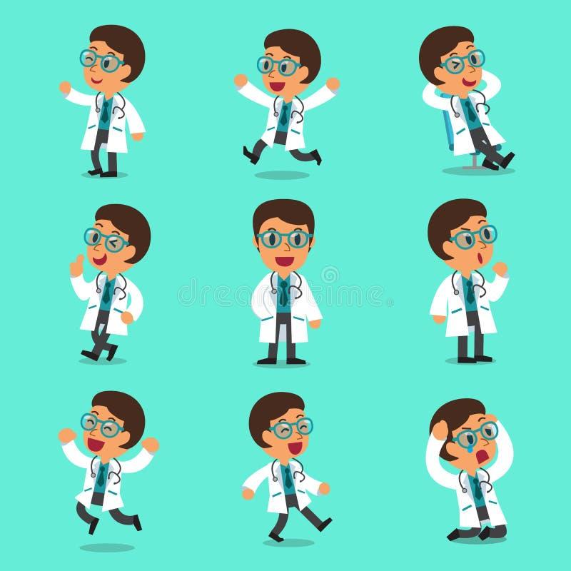 Pose maschii del carattere di medico del fumetto royalty illustrazione gratis