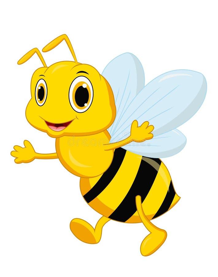 Pose mignonne de bande dessinée d'abeille illustration libre de droits