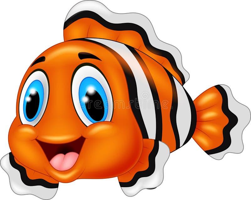 Pose mignonne de bande dessinée de poissons de clown illustration libre de droits