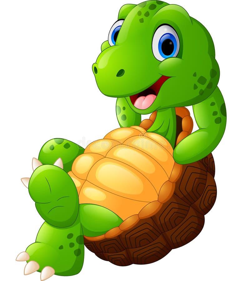 Pose mignonne de bande dessinée de tortue illustration de vecteur