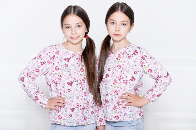 Pose mignonne de petites filles image stock