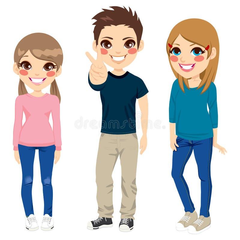 Pose occasionnelle d'adolescents illustration de vecteur