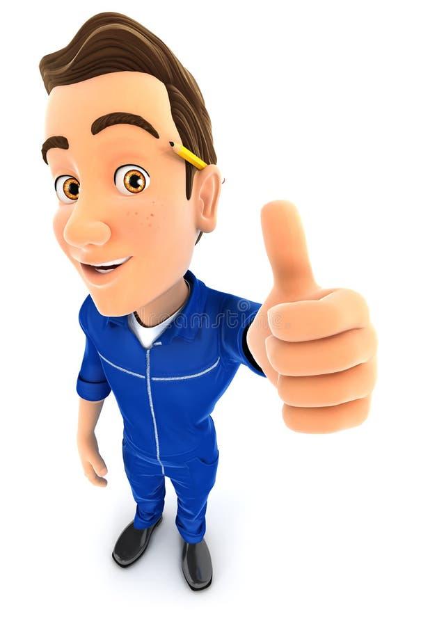 pose positiva do mecânico 3d com polegar acima ilustração royalty free