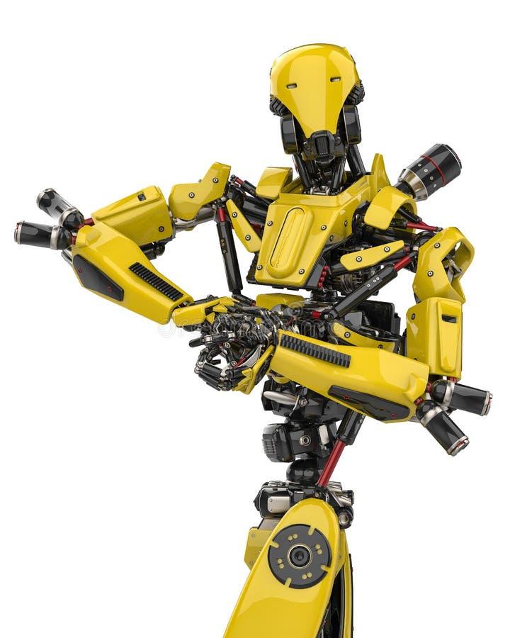 Pose super do halterofilista do zangão do robô amarelo mega em um fundo branco