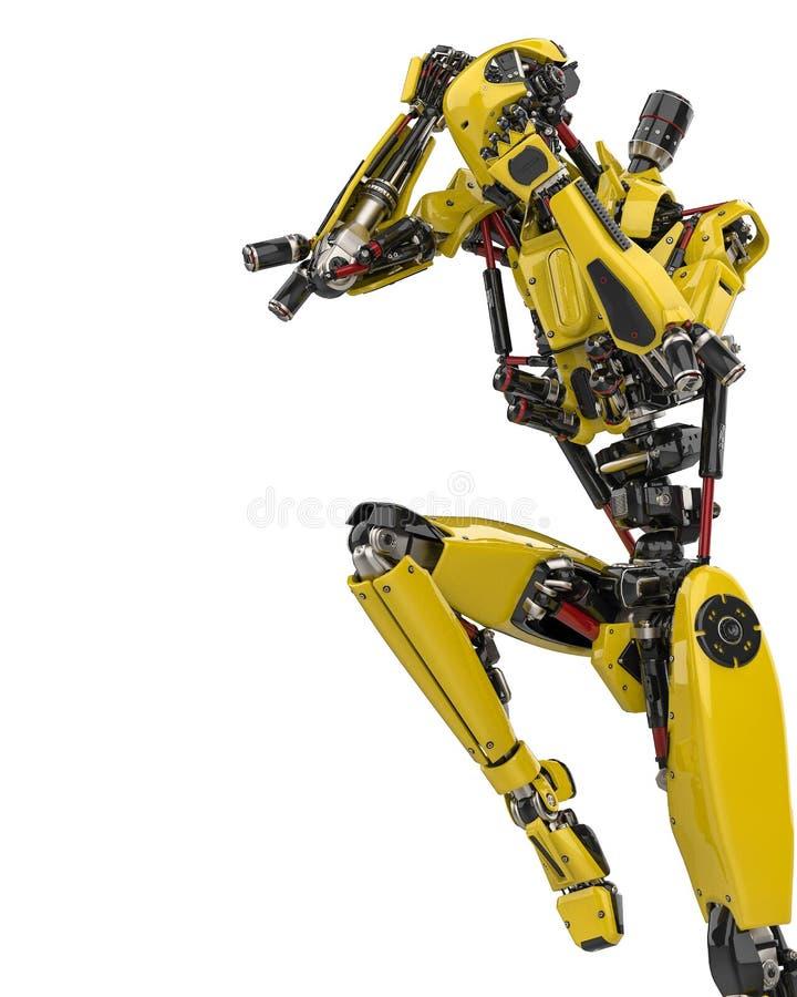Pose super 2 do lutador do zangão do robô amarelo mega em um fundo branco