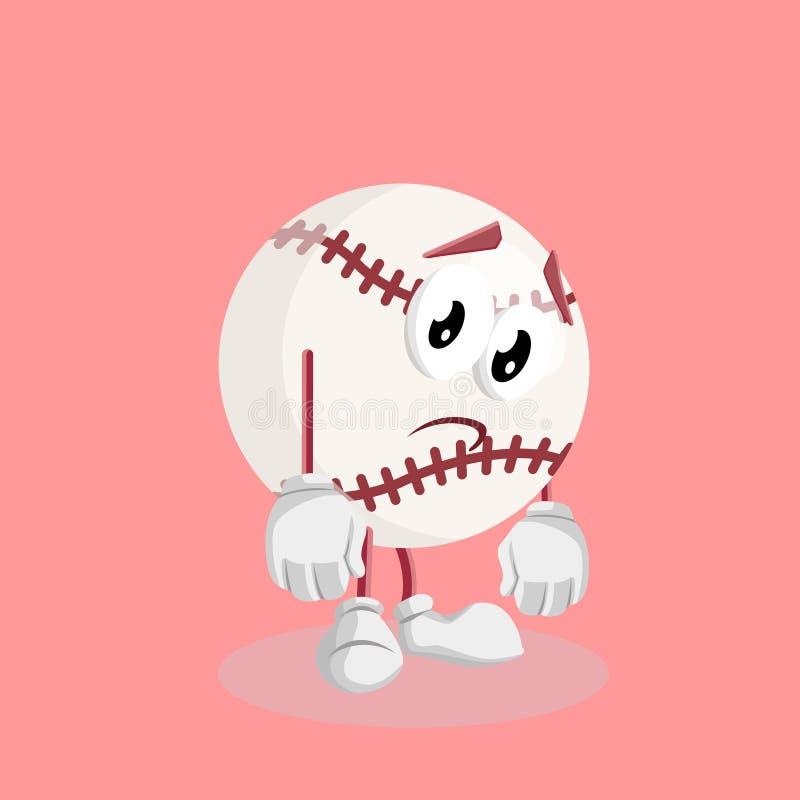 Pose triste de mascotte et de fond de base-ball photographie stock libre de droits