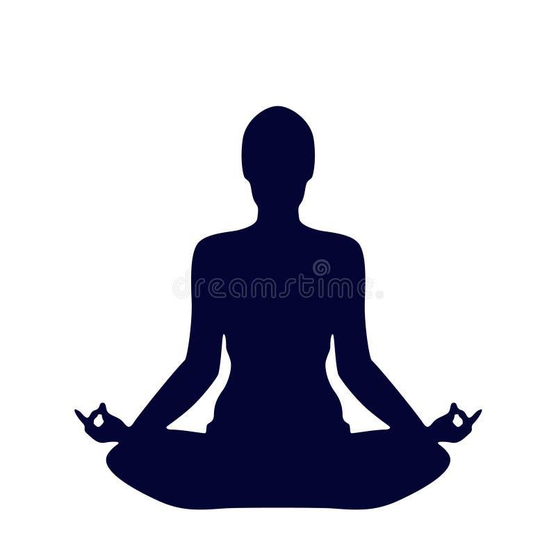 Pose Yoga Silhouette stock illustration