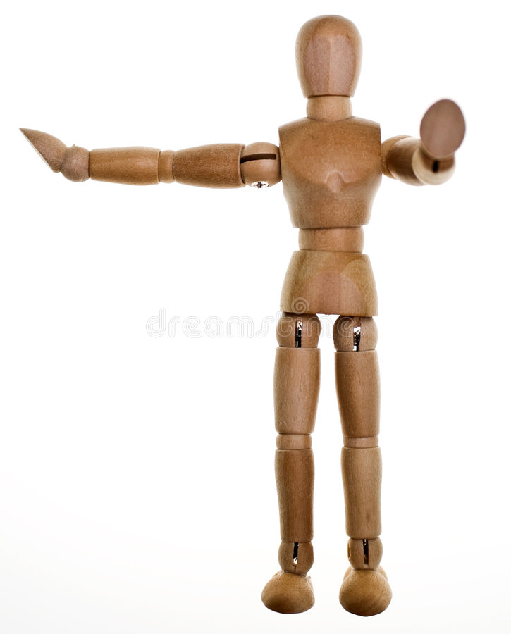 Posed Wooden Mannequin. One posed wooden mannequin on white background. Lit from behind to elliminate shadows royalty free stock photography