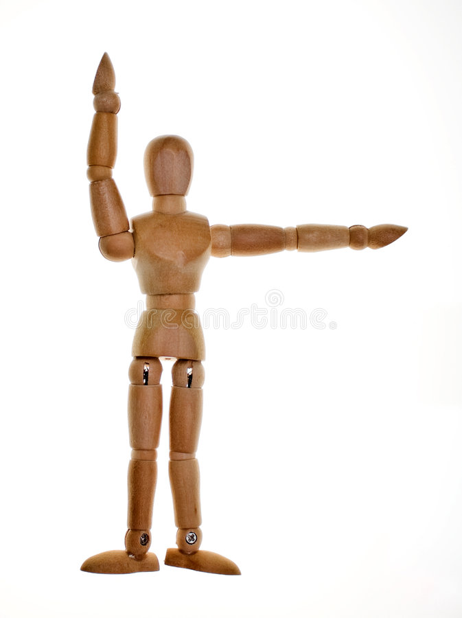 Posed Wooden Mannequin. One posed wooden mannequin on white background. Lit from behind to elliminate shadows royalty free stock photo