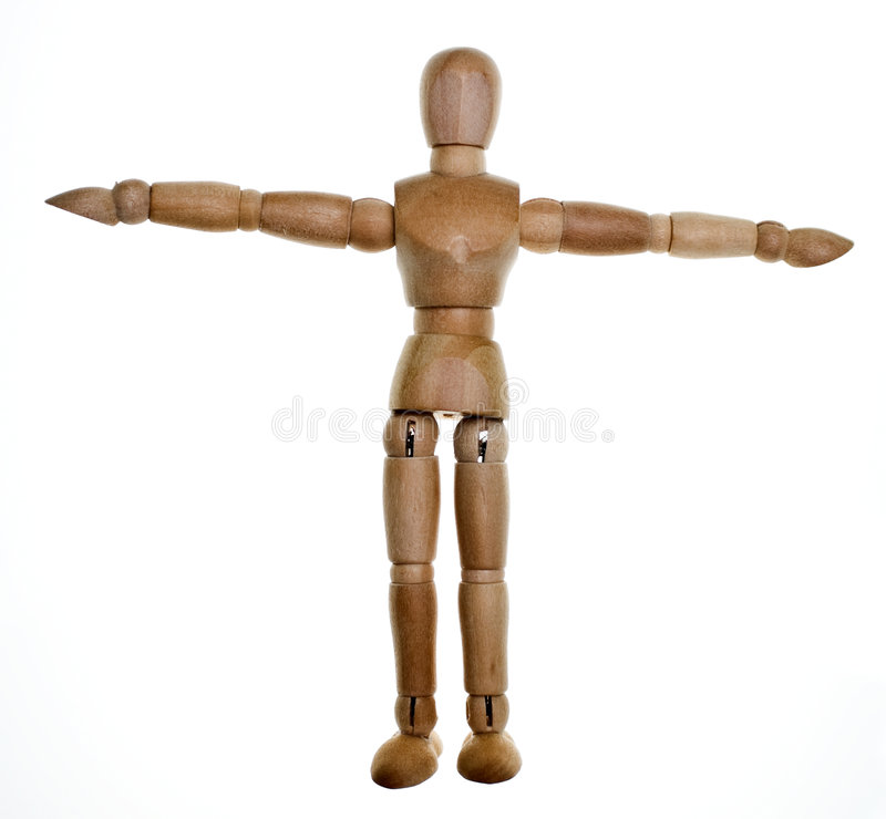 Posed Wooden Mannequin. One posed wooden mannequin on white background. Lit from behind to elliminate shadows stock image