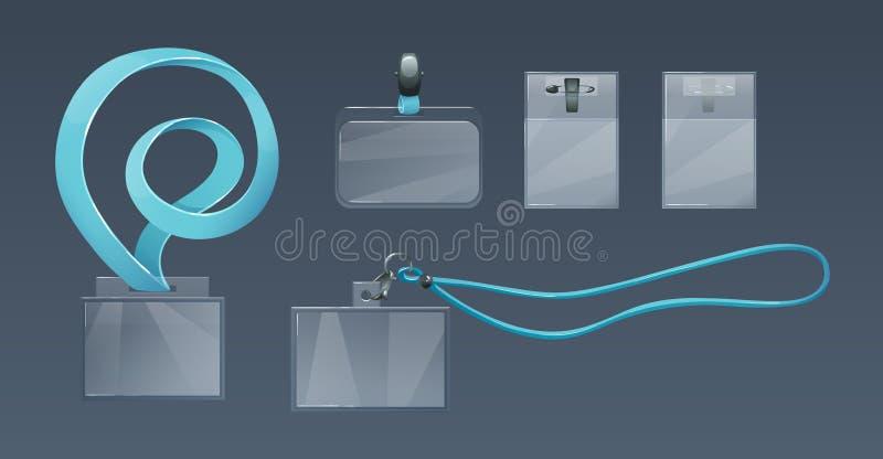 Poseedores de una tarjeta de identificación plásticos para los IDs del empleado, en correas suaves, cordones ilustración del vector