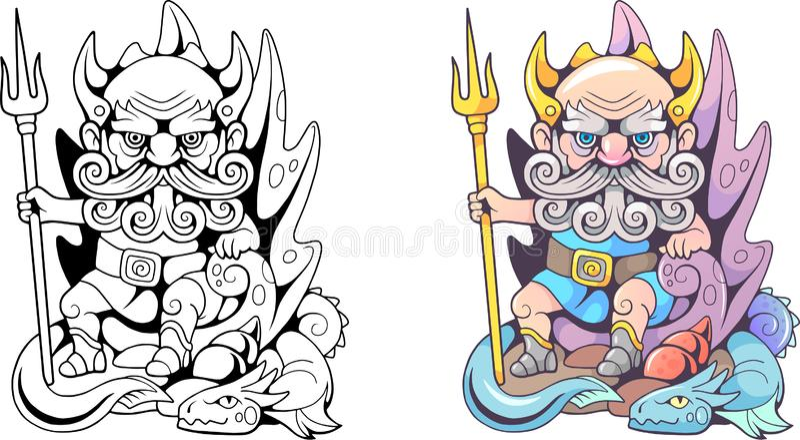 Poseidon бога древнегреческия, сидит на троне иллюстрация вектора