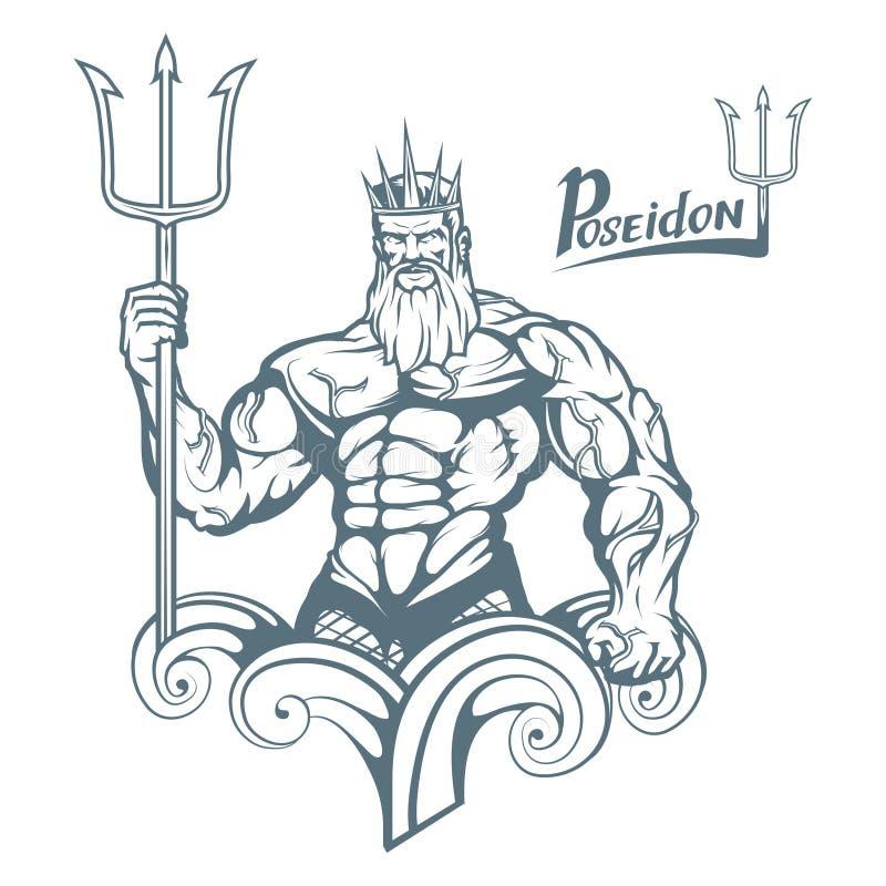 poseidon Poseidon нарисованное рукой Голова Нептуна иллюстрация штока