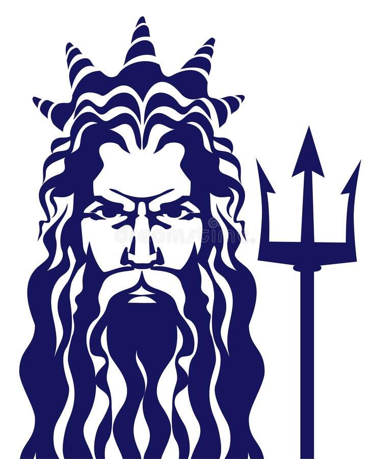 Poseidon Нептуна с иллюстрацией вектора трёхзубца иллюстрация штока