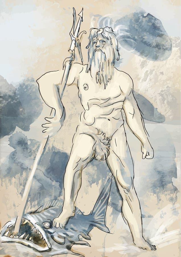Poseidon ilustração do vetor