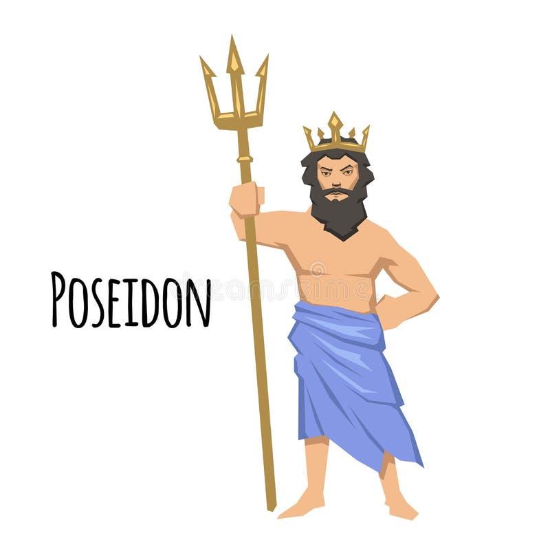 Poseidon, deus do grego clássico do mar com tridente mythology Ilustração lisa do vetor Isolado no fundo branco ilustração do vetor